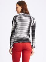 Siyah Saf Pamuklu Çizgili Uzun Kollu T-Shirt