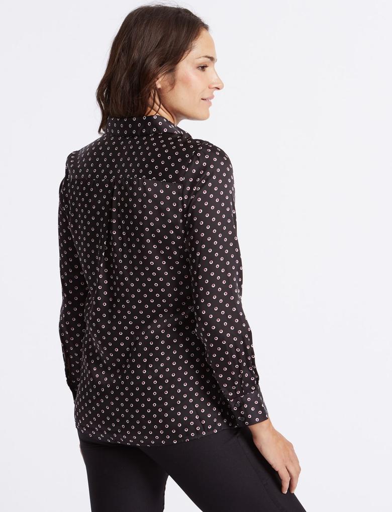 Siyah Saten Uzun Kollu Gömlek