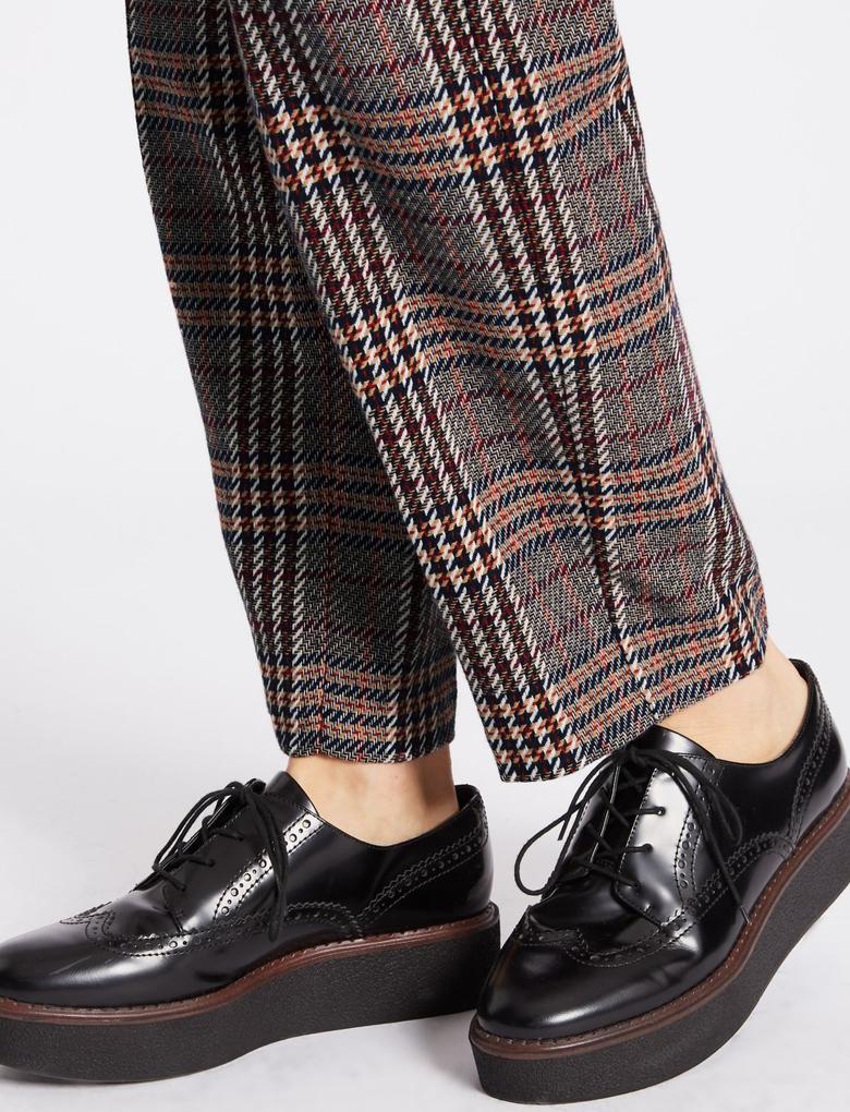 Ekose Straight Leg Pantolon