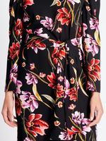 Çiçek Desenli Uzun Kollu Tunik Midi Elbise