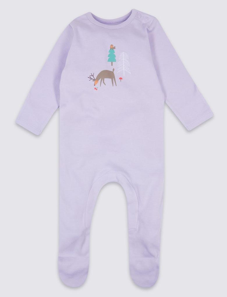 3'lü Saf Pamuklu Pijama Tulum