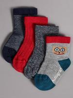 Lacivert 4'lü Pamuklu Bebek Çorap Seti (0 - 24 Ay)