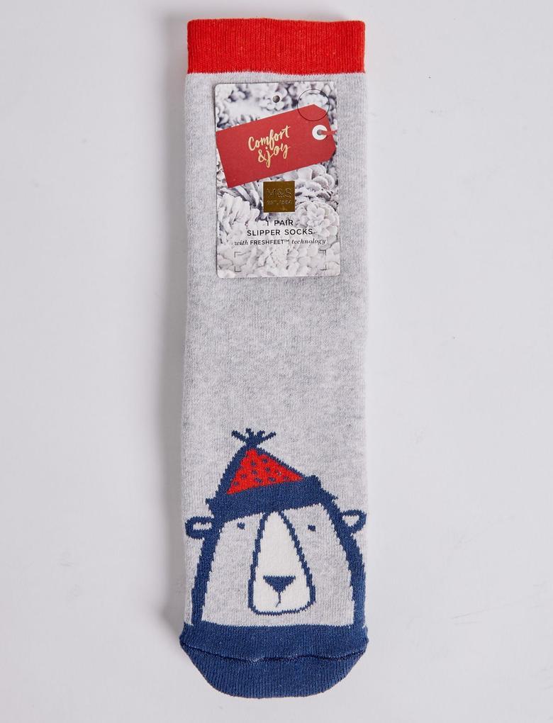 Mavi Pamuklu Ayıcık Çorap