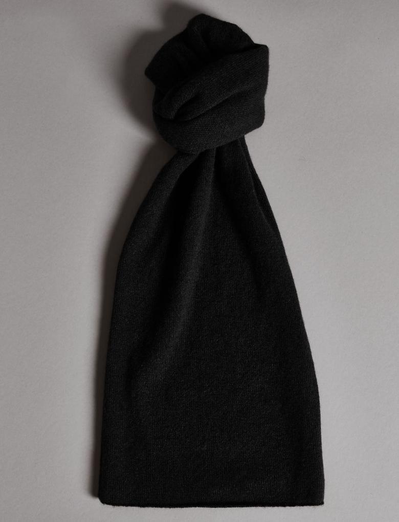 Siyah Saf Kaşmir Atkı