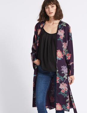 Çiçek Desenli Uzun Kollu Kimono Üst