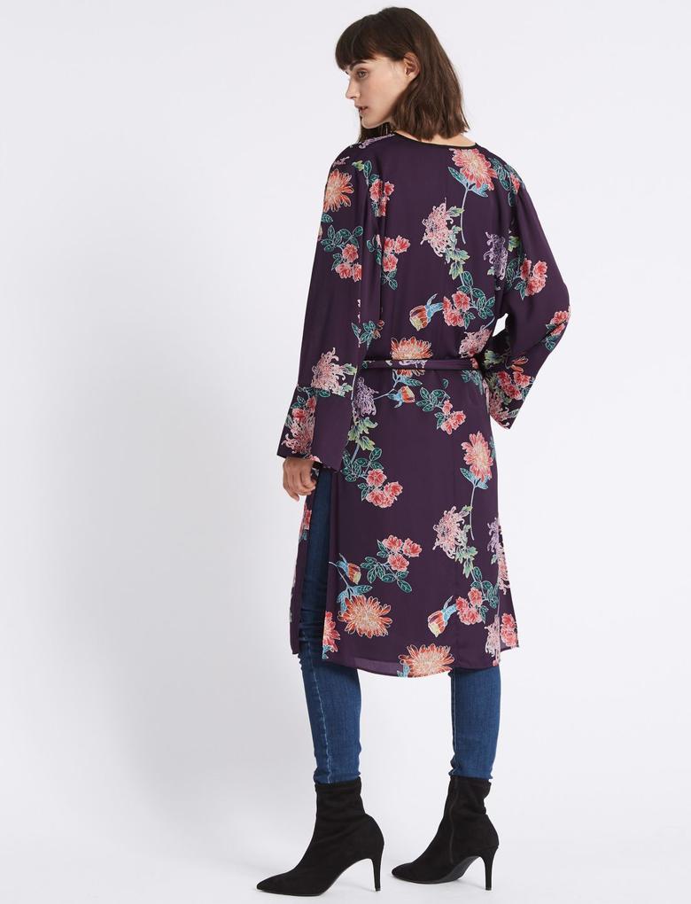 Çiçek Desenli Uzun Kollu Kimono Bluz