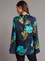 Çiçek Desenlİ Saten Gömlek
