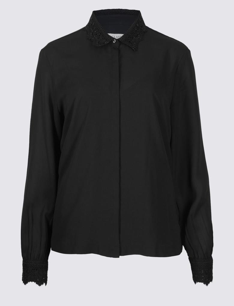 Siyah İşlemeli Uzun Kollu Gömlek
