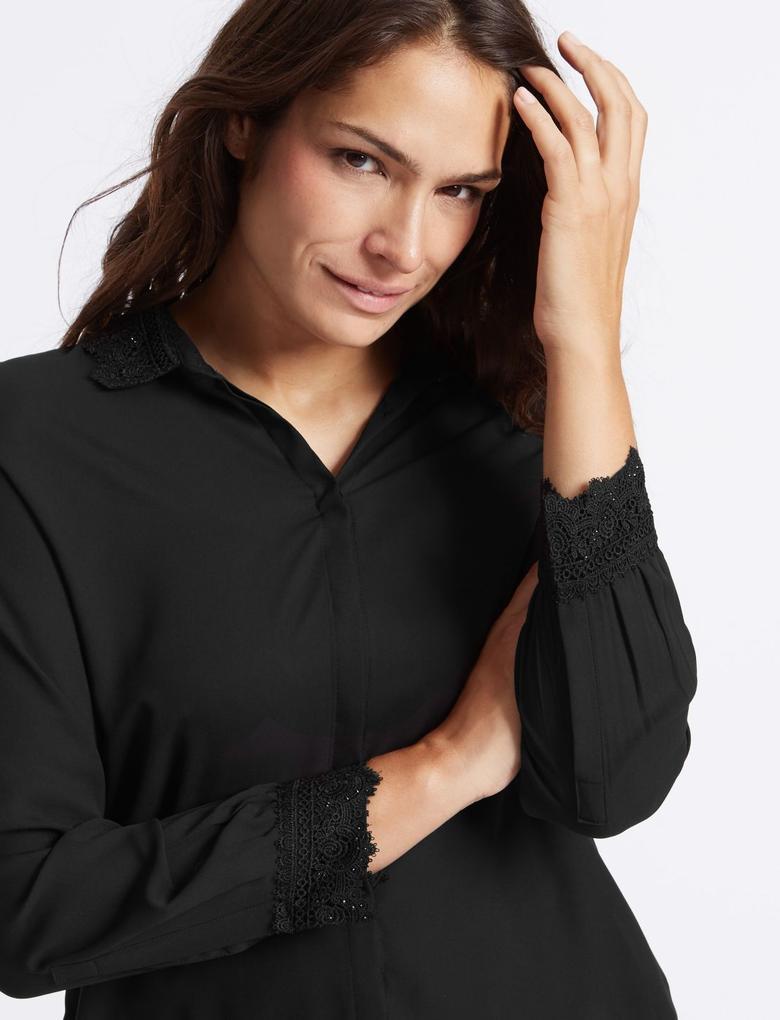 İşlemeli Uzun Kollu Gömlek