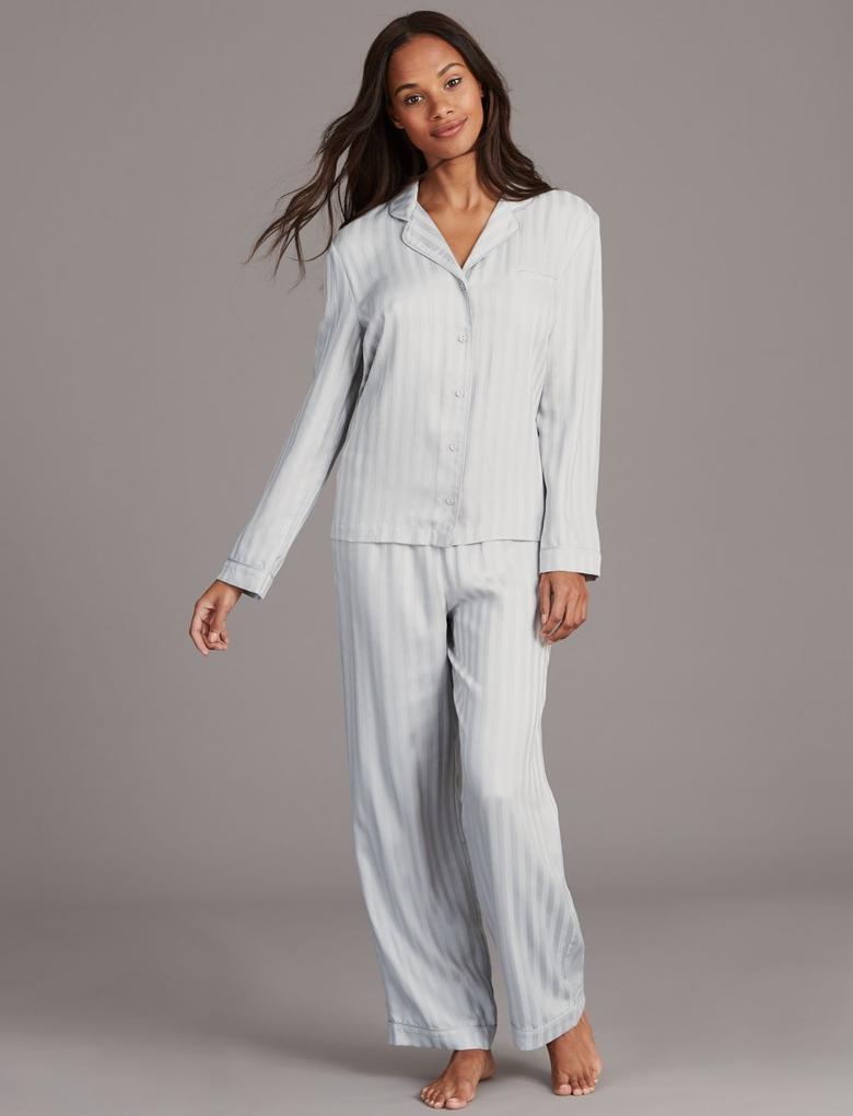Çizgi Desenli Uzun Kollu Pijama Takımı