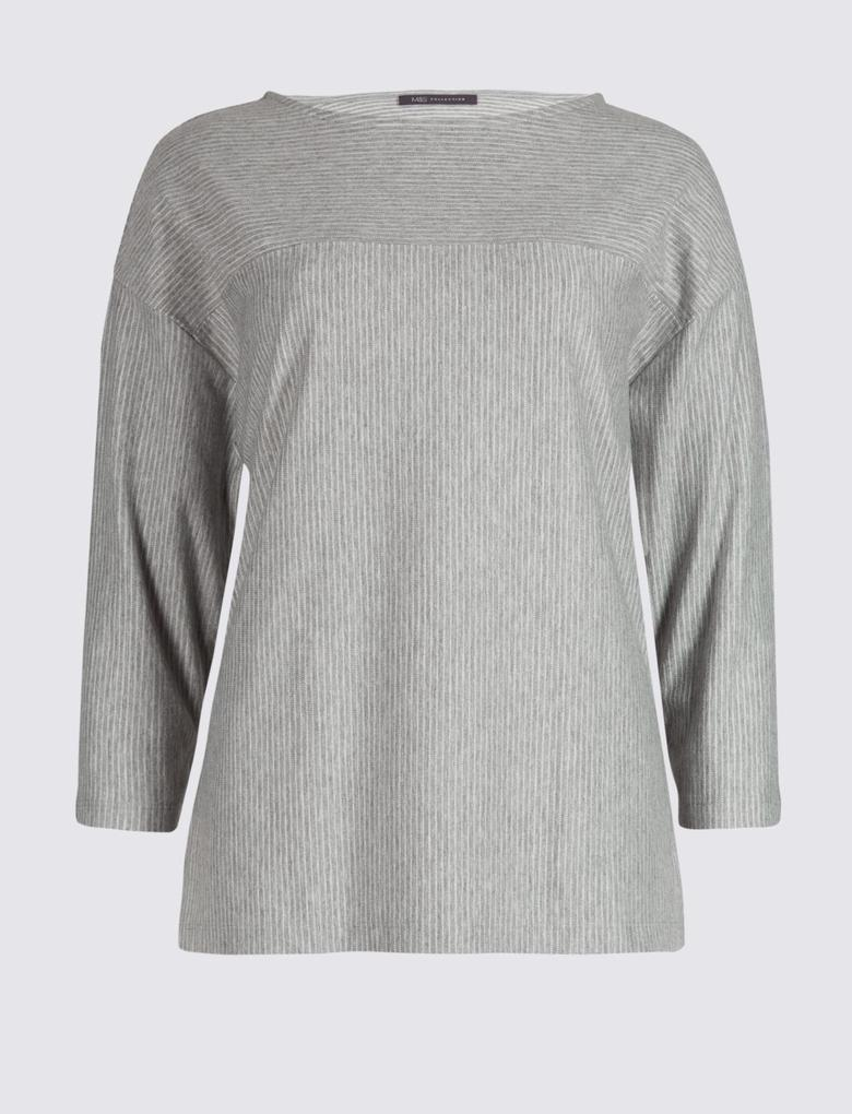 Pamuklu Çizgi Desenli 3/4 Kollu T-Shirt
