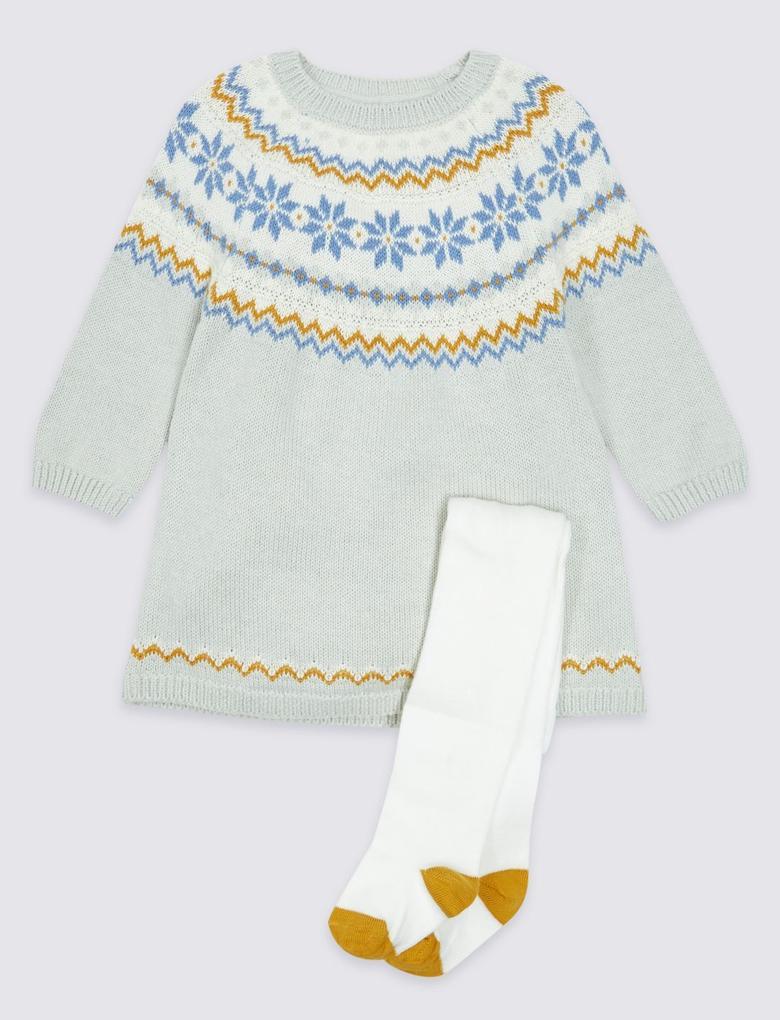 Gri 2 Parça Külotlu Çoraplı Intersia Elbise Takımı