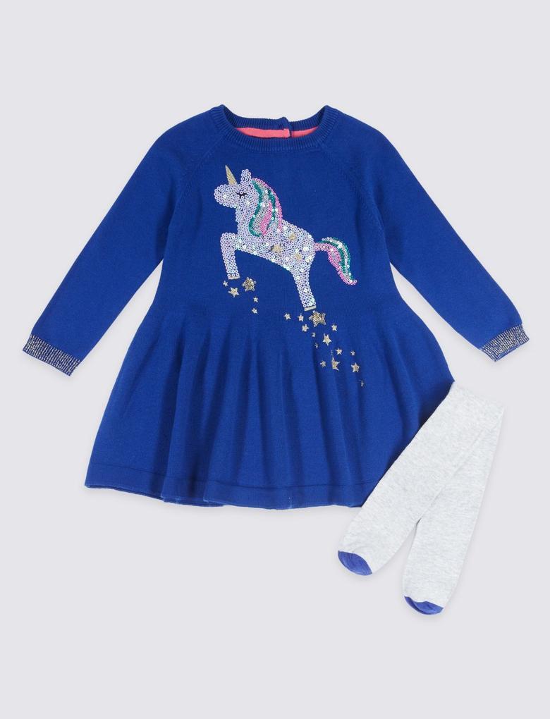 Külotlu Çoraplı Unicorn Pullu Elbise Takımı (3 Ay - 6 Yaş)