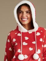 Desenli Uzun Kollu Polar Pijama Takımı