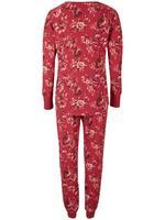 Mor Pamuklu Çiçek Desenli Pijama Takımı