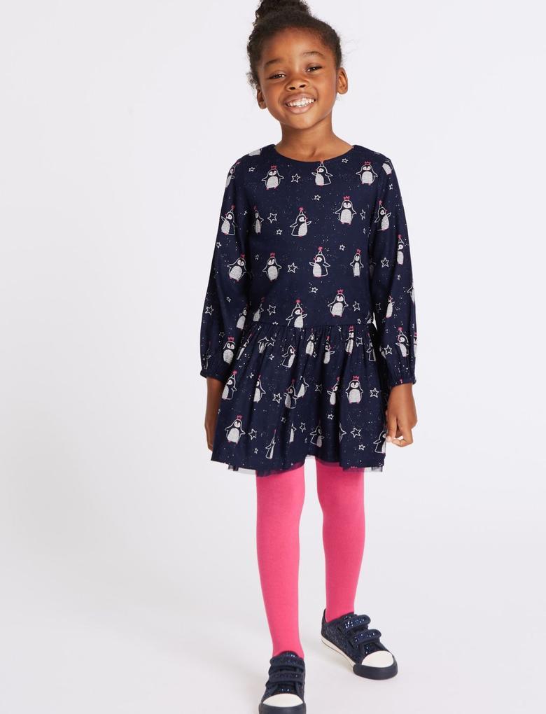 2 Parça Külotlu Çoraplı Desenli Elbise Takımı (3 Ay - 6 Yaş)