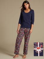 Saf Pamuklu 3/4 Kollu Pijama Takımı (StayNEW™ Teknolojisi ile)
