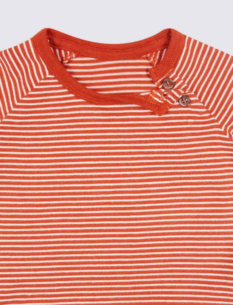 Lacivert 3'lü Saf Pamuklu Desenli T-Shirt