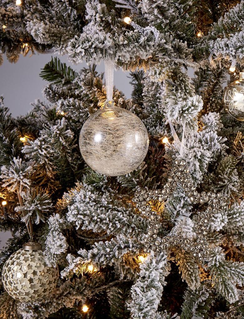 Metalik Gümüş Yıldız Mozaikli Çam Ağacı Süsü