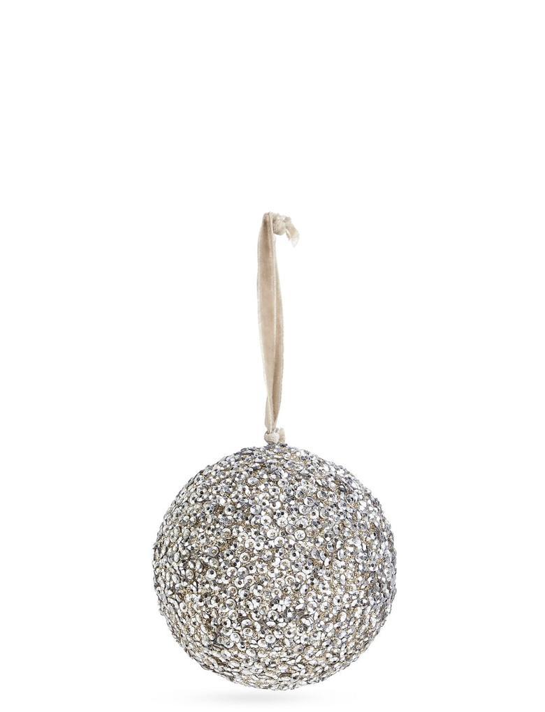 Metalik Gümüş Boncuklu Çam Ağacı Süsü