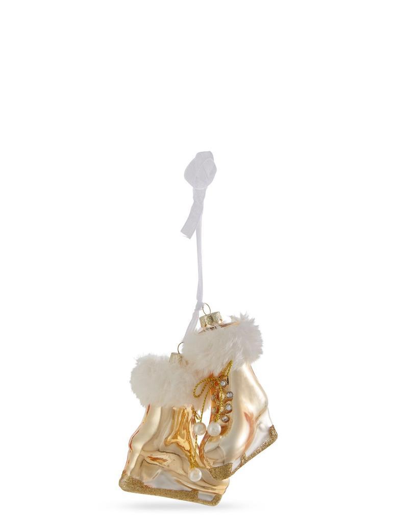 Altın Cam Buz Pateni Çam Ağacı Süsü