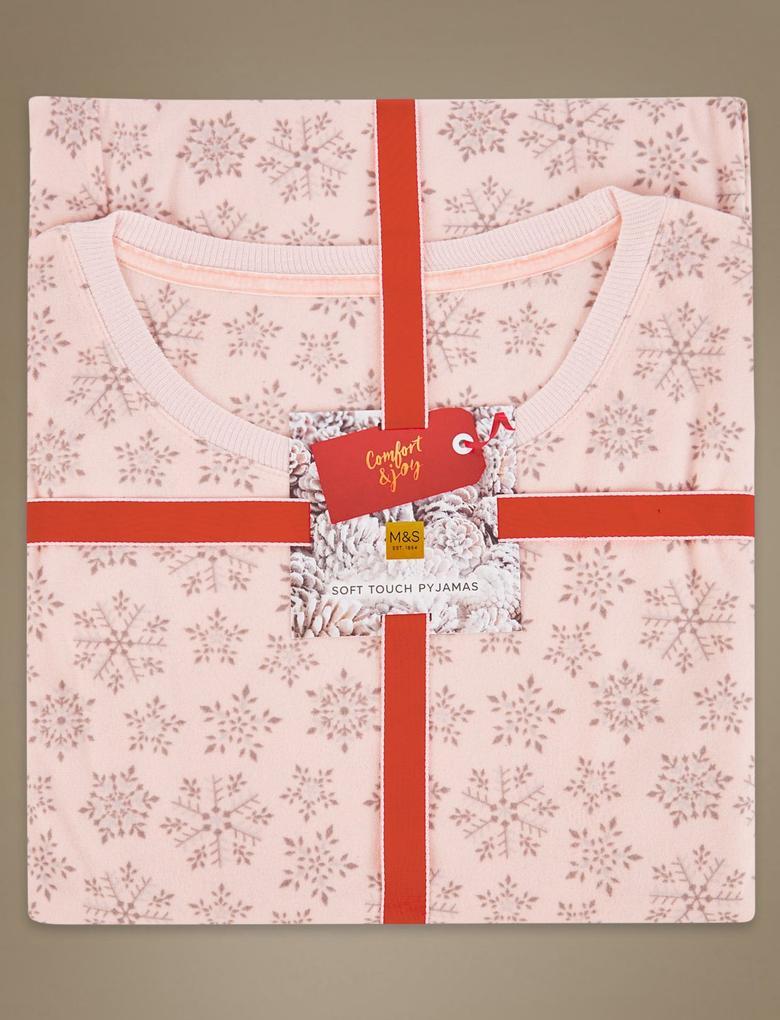 Pembe Kar Tanesi Desenli Uzun Kollu Pijama Takımı