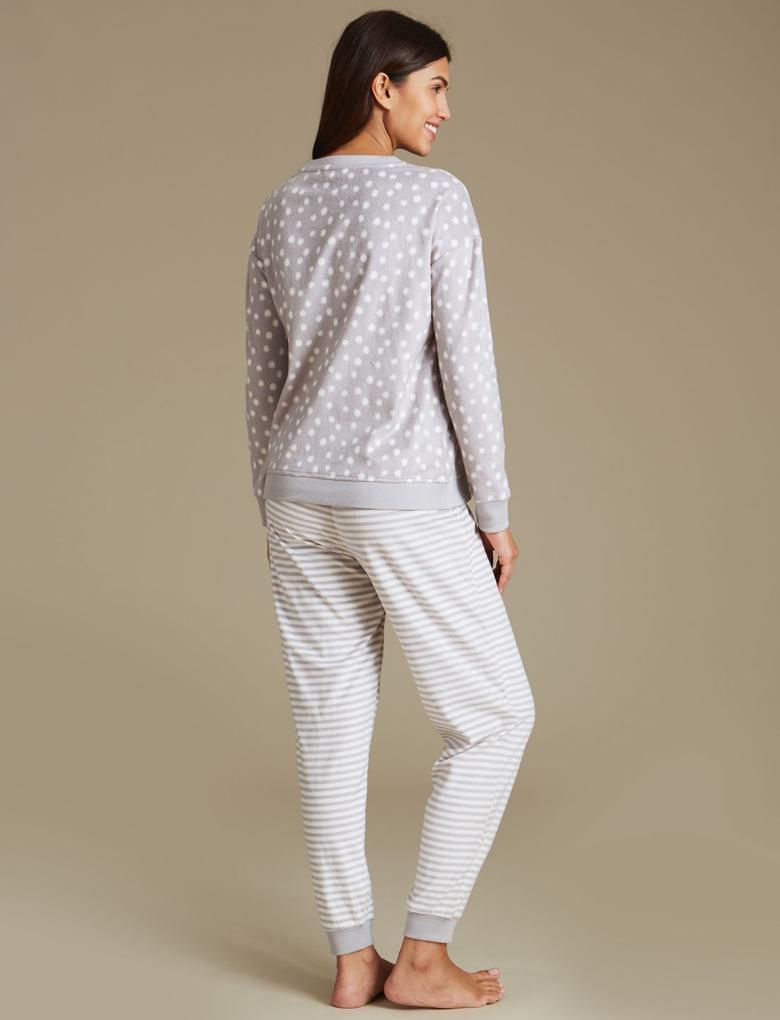 Penguen Desenli Polarlı Uzun Kollu Pijama Takımı