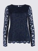Lacivert Pırıltılı Dantel Uzun Kollu Bluz