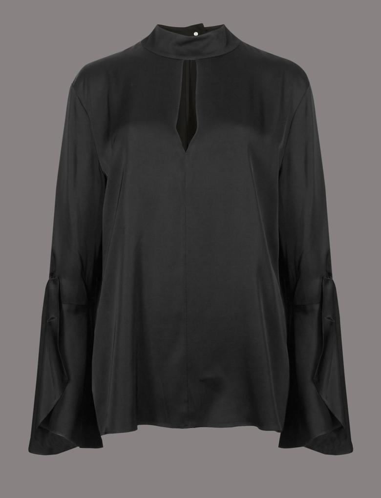 Yuvarlak Yaka Düğmeli Bluz