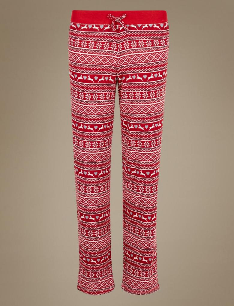 Fairisle Desenli Straight Leg