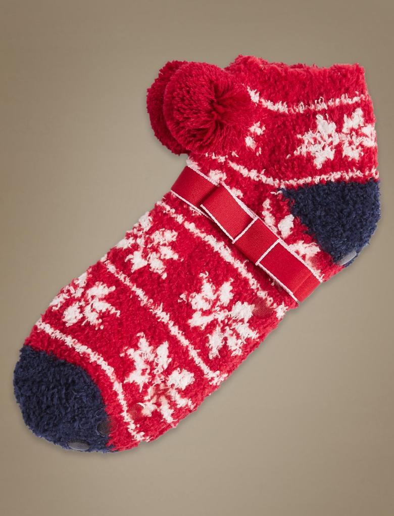 Ponponlu Fairisle Desenli Terlik Çorap