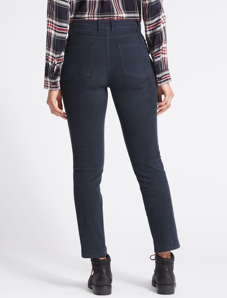 Lacivert Pamuklu Slim Kesim Pantolon