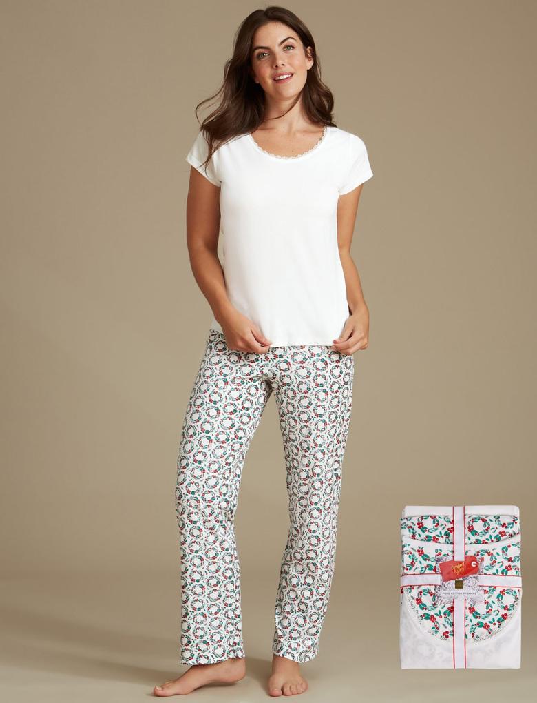 Saf Pamuklu Desenli Kısa Kollu Pijama Takımı
