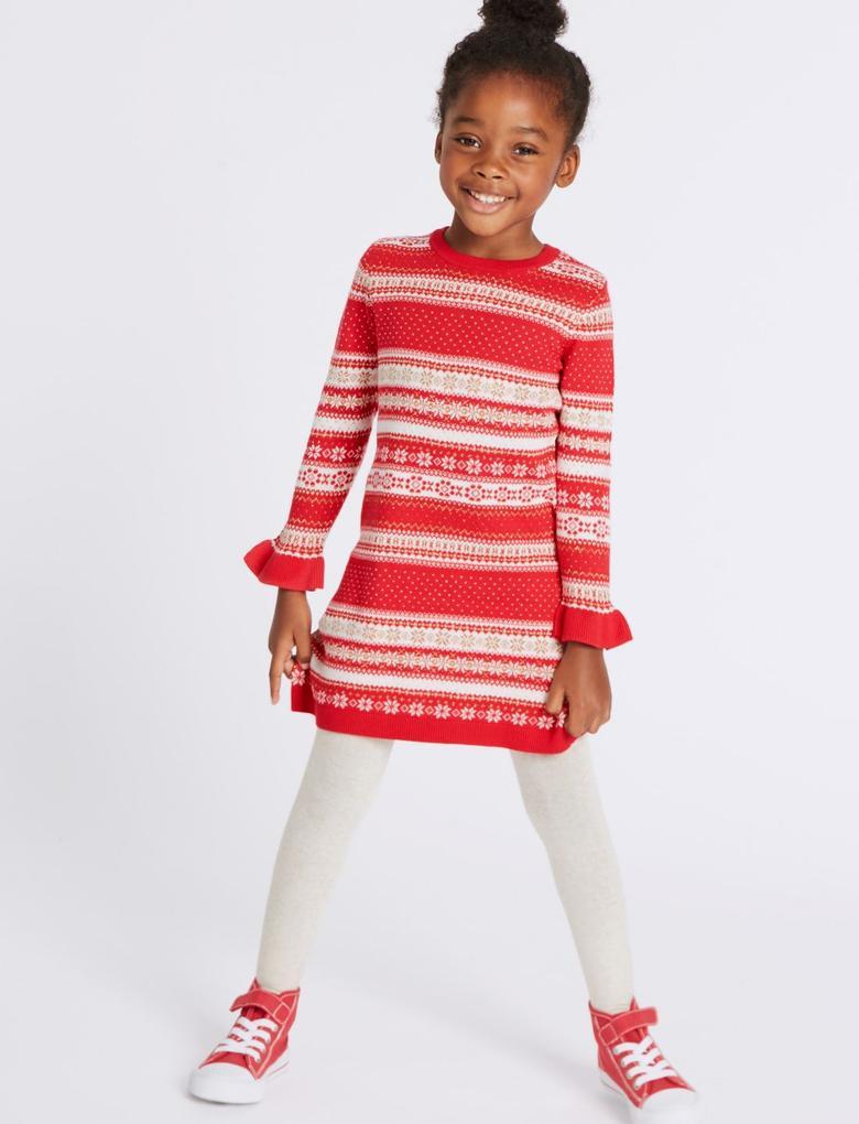 2 Parça Pamuklu Örgü Elbise ve Külotlu Çorap (3 Ay - 6 Yaş)