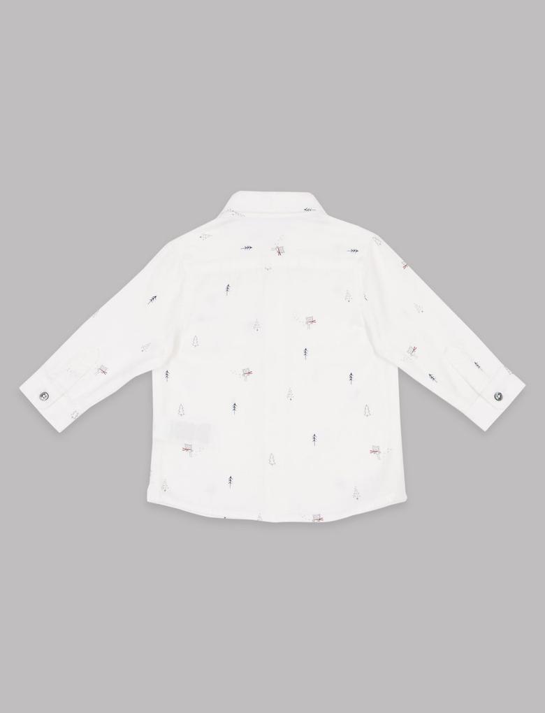 Beyaz Saf Pamuklu Desenli Gömlek