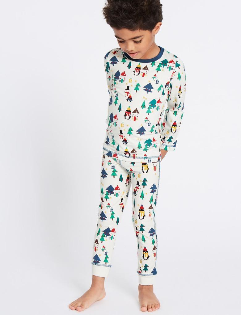 3'lü Pamuklu Streç Pijama Takımı (9 Ay - 8 Yaş)