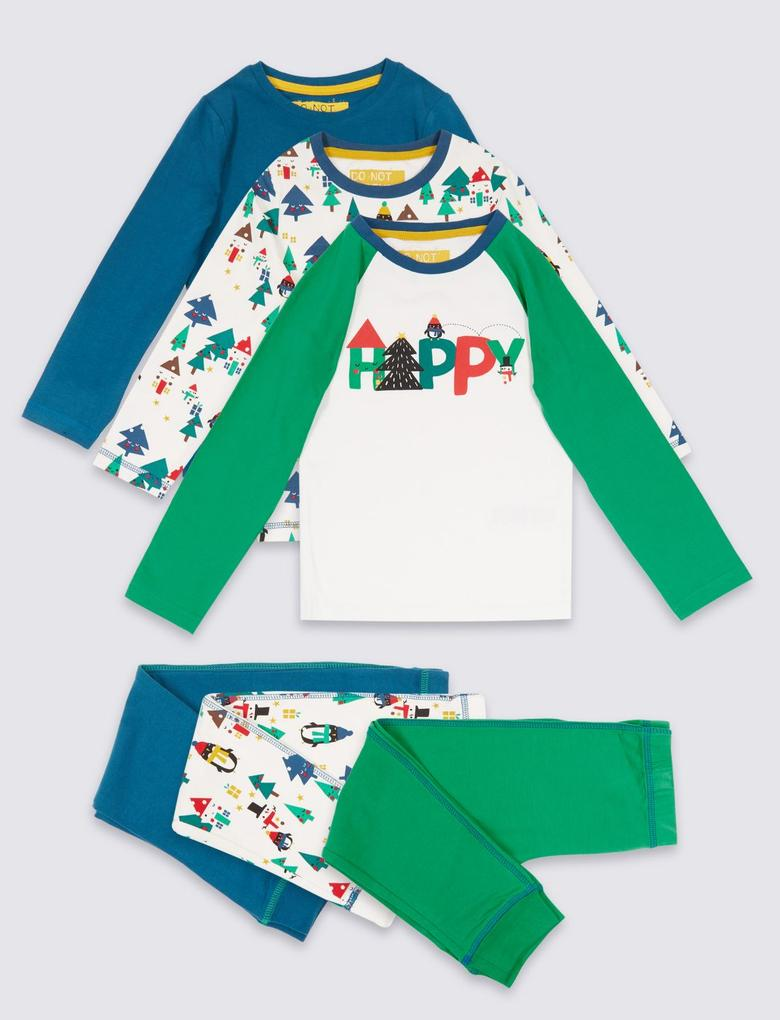 Beyaz 3'lü Pamuklu Streç Pijama Takımı (9 Ay - 8 Yaş)