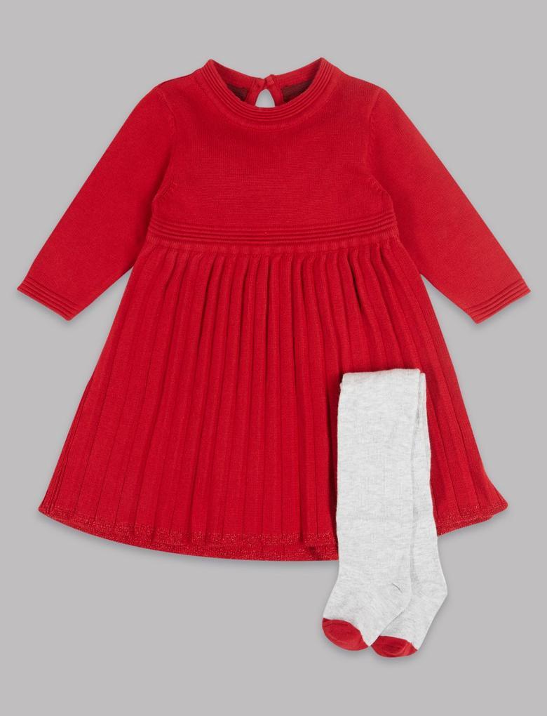 2 Parça Pileli Elbise ve Külotlu Çorap