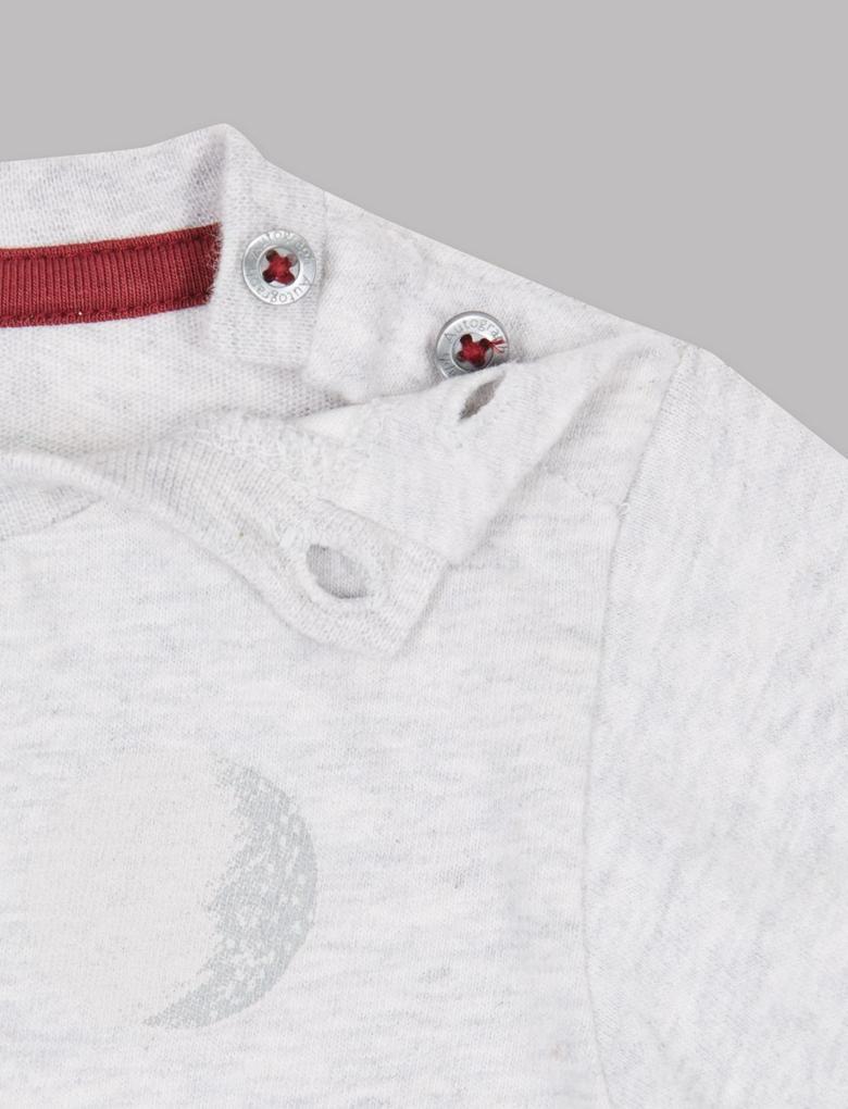 Saf Pamuklu Baykuş Desenli T-Shirt