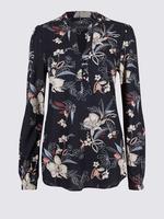 Lacivert Desenli Uzun Kollu Bluz