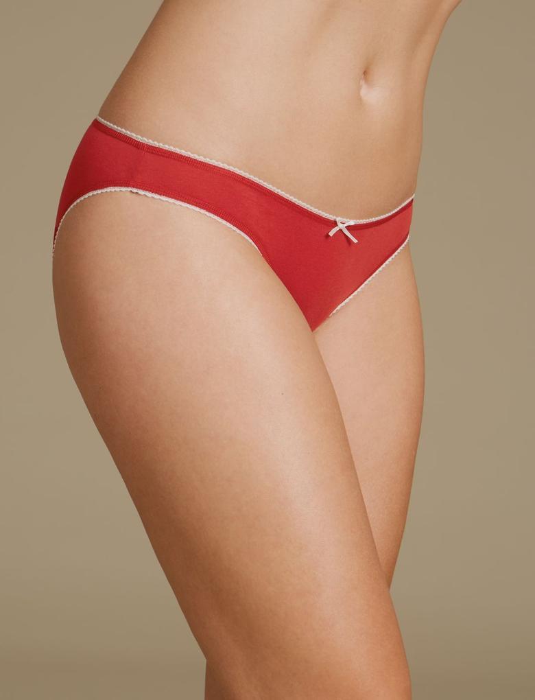 Kırmızı 5'lİ Pamuklı Bikini Külot Seti