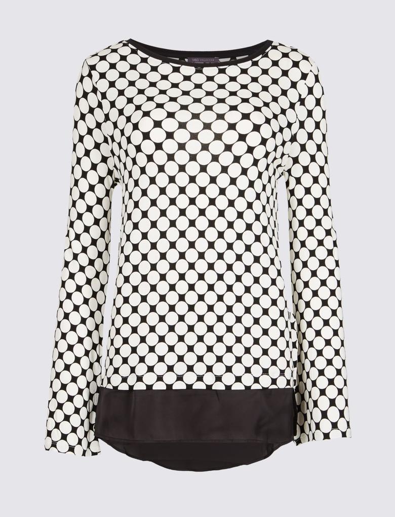 Desenli Uzun Kollu Tunik Bluz