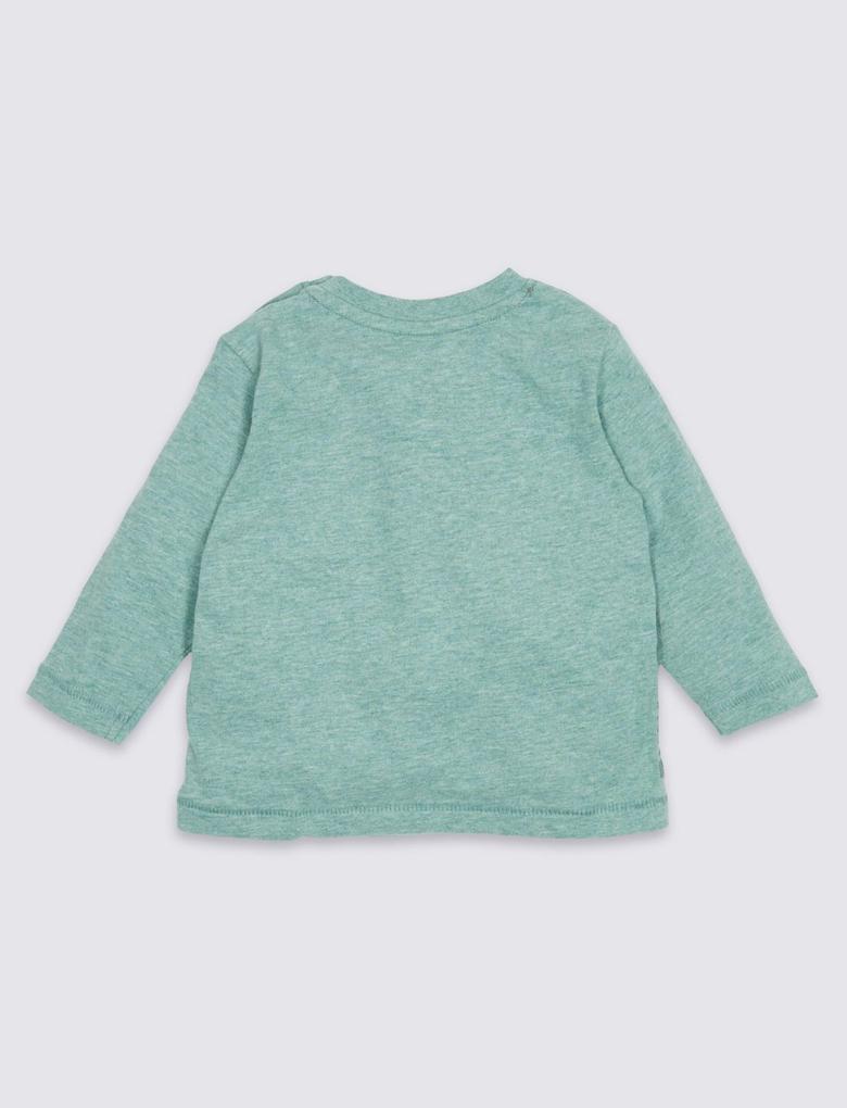 Saf Pamuklu Aplike T-Shirt
