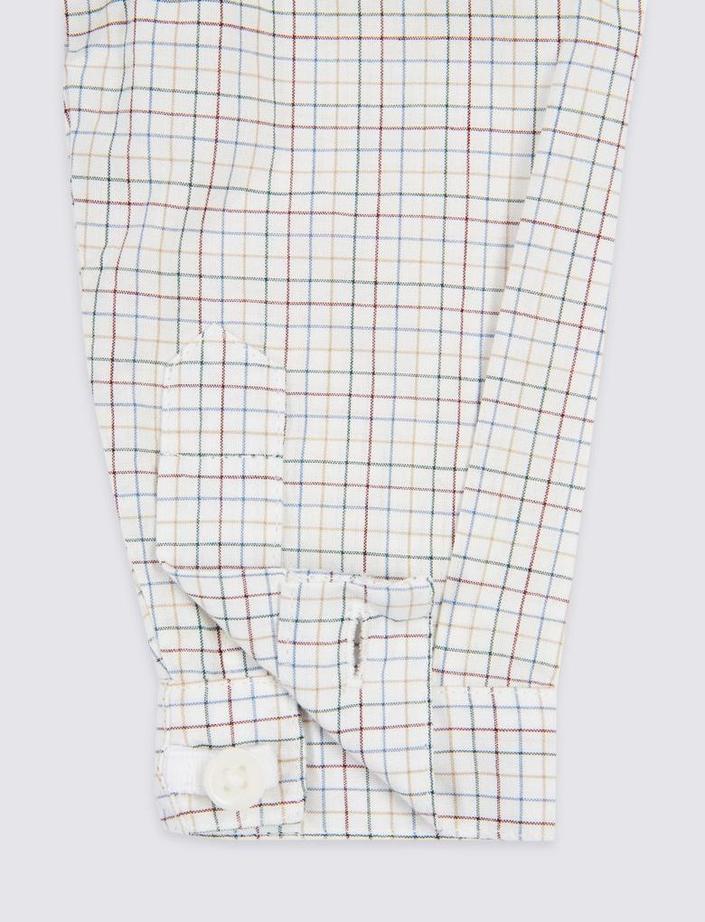 Beyaz Marie Chantal - Saf Pamuklu Ekose Gömlek