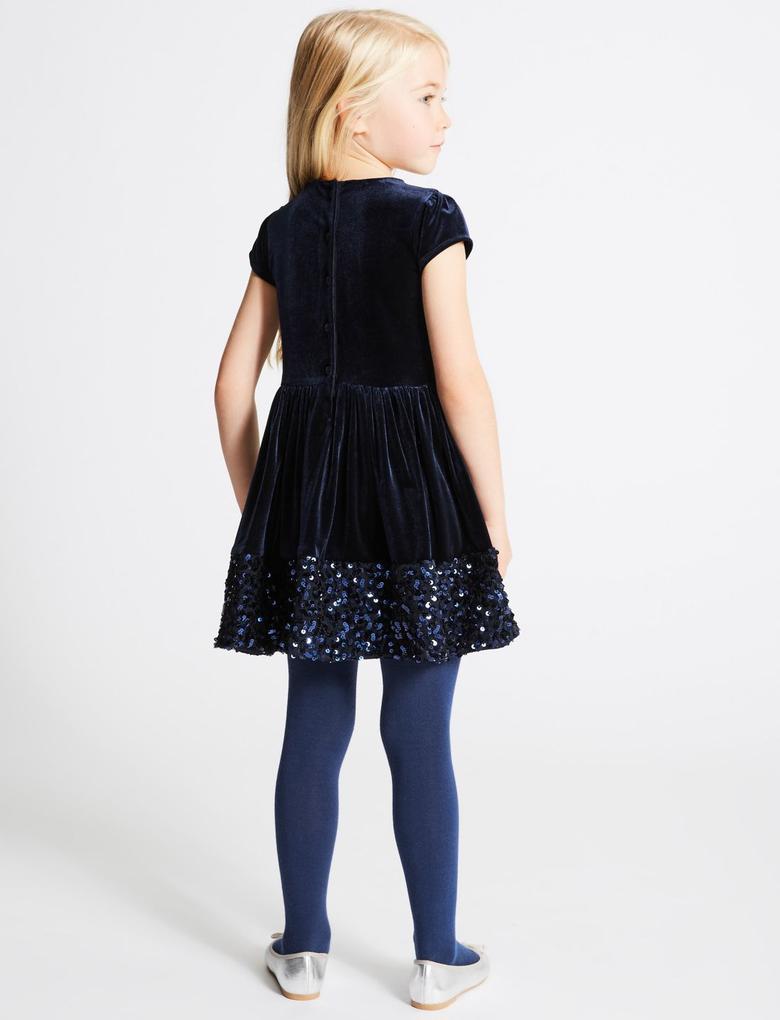 Pullu Kadife Elbise (1 - 10 Yaş)