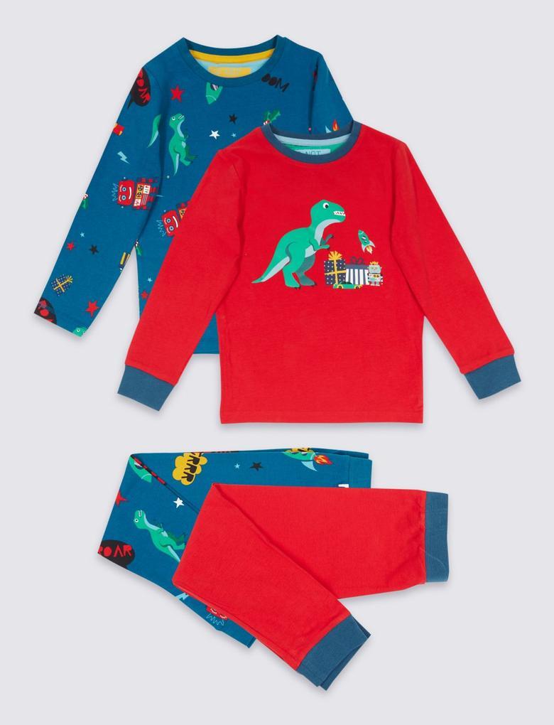 2'li Desenli Pamuklu Streç Pijama Takımı (1 - 8 Yaş)
