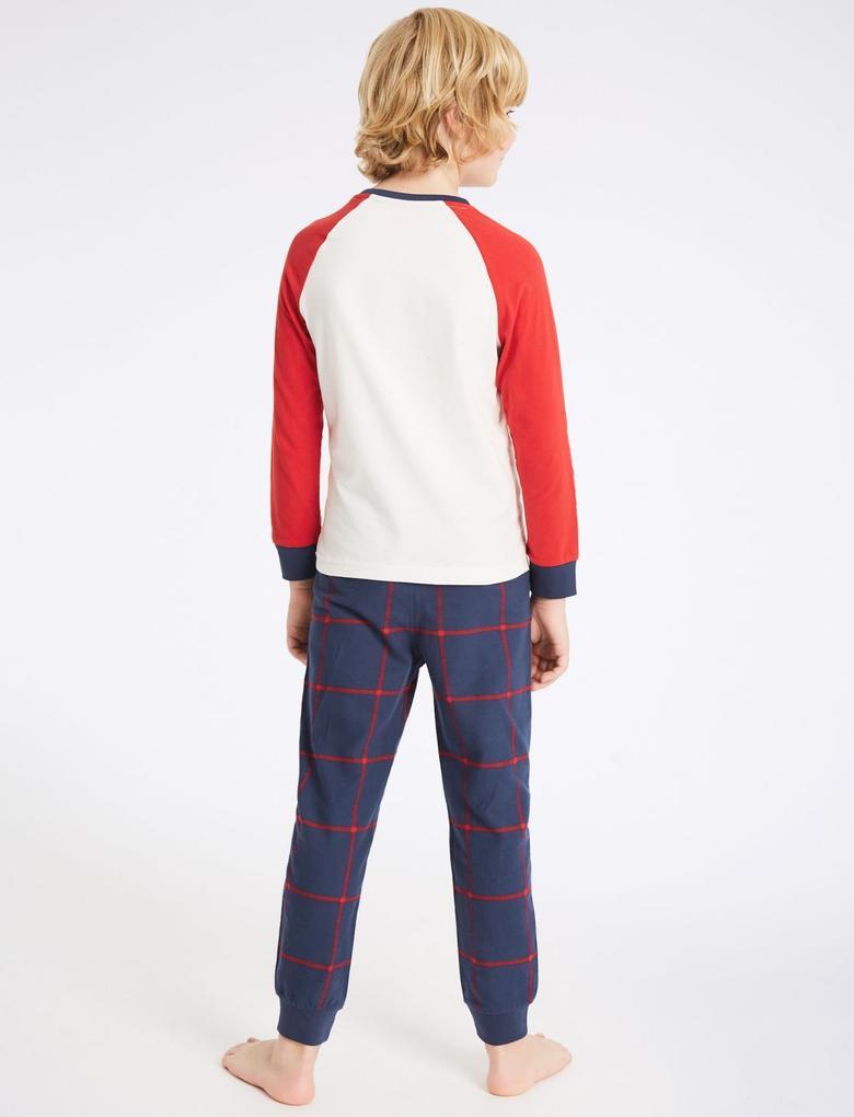 Saf Pamuklu Desenli Pijama Takımı (3 - 16 Yaş)