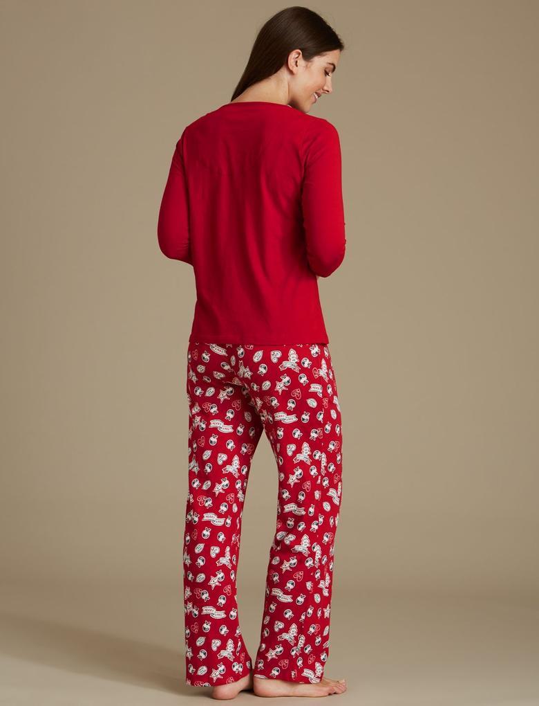 Saf Pamuklu Desenli 3/4 Kollu Pijama Takımı