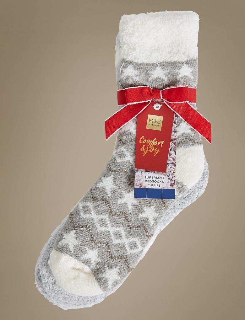 2'li Yıldız Desenli Ev Çorabı