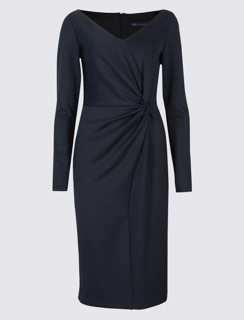 Siyah Uzun Kollu Midi Elbise